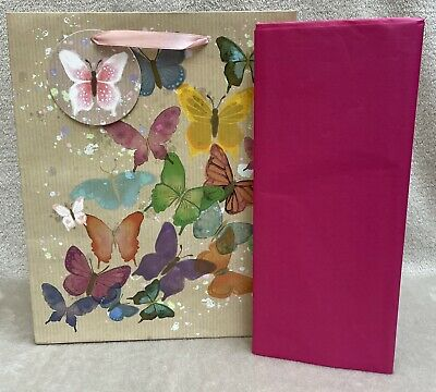 £2.49 • Buy Ladies BUTTERFLY PRINT Medium Gift Bag For Her & Tissue Paper Present Wrapping
