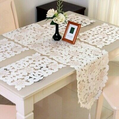£6.48 • Buy 1 X Lace Table Runner Mats Vintage Embroidered Flower Doily Dining Room Decor