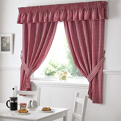 £19.27 • Buy Gingham Check Kitchen Tape Top Curtains - Red 46  Wide X 54  Drop