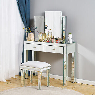 £135.99 • Buy Glass Silver Mirrored 2 Drawer Hallway Console Table Display Hall Dressing Table