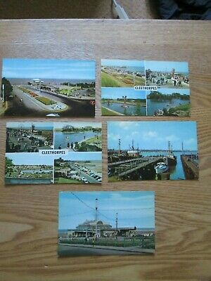 £4.99 • Buy 5x Postcards Cleethorpes & Grimsby - The Approach, Sea Road, Pier Pavilion, Dock