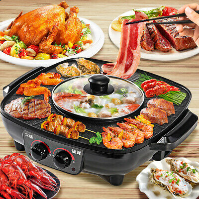 AU45.66 • Buy Hot Pot BBQ Barbecue Pan Electric Shabu Grill Plate Oven Hotpot Frying Cook Boil