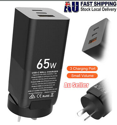 AU42.99 • Buy 65w GaN Charger Quick Charge 3.0 PD USB Charger Fast Charging 3 Port