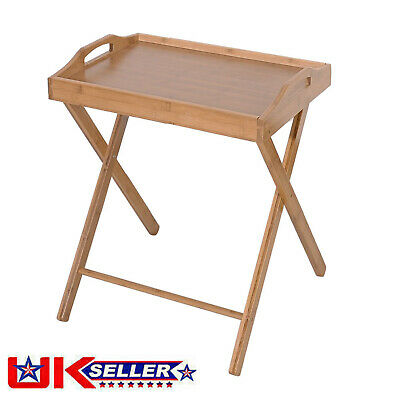 £16.90 • Buy Folding Snack Table Wooden Natural Desk Foldable Portable Dining Laptop Coffee