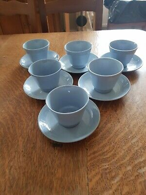 £25 • Buy Vintage Woods Iris Blue Cups And Saucers X 6