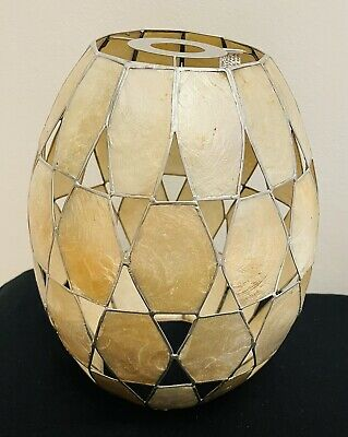 £24.99 • Buy Capiz Shell Cylinder Ceiling Light Shade Pearlescent Champagne/Silver 10 Inch