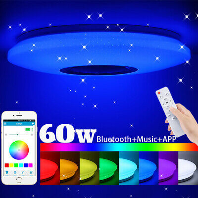 £11.98 • Buy 60W RGB LED Ceiling Light Bluetooth Speaker Music Lamp Dimmable APP Remote Round