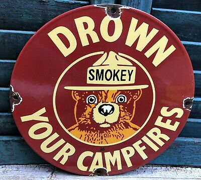 $ CDN80.16 • Buy Vintage 1936 Dated Porcelain Smokey Bear Drown Your Camp Fires Sign