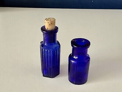 £9.99 • Buy Pair Of Small Vintage Bristol Blue Glass Apothecary Chemist Bottles