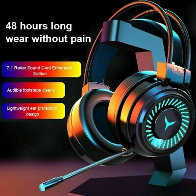 AU25.99 • Buy  Headset Active Noise Cancelling Wired Headphone With Mic  Led Light Gaming Head