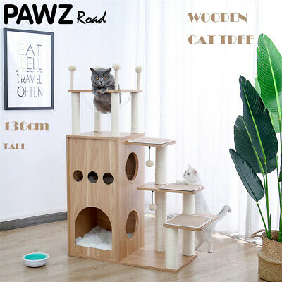 AU199.99 • Buy Cat Scratching Post Tree Climbing Tower Condo House Scratcher Wooden Furniture