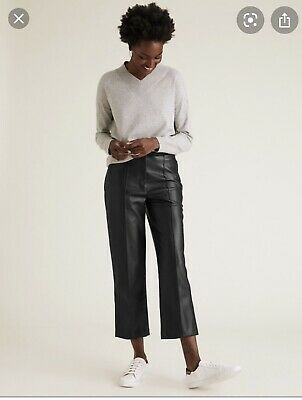 £1.40 • Buy M&S Black Faux Leather Trousers.The Evie Straight Leg. UK Size 12 Short.