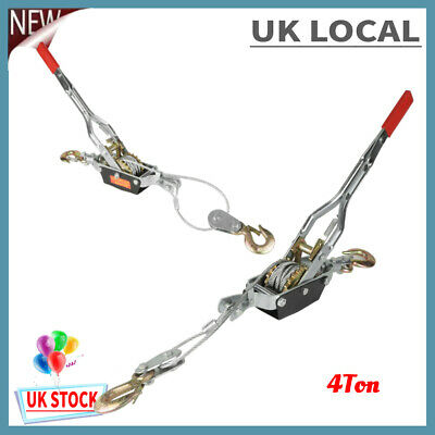 £21.73 • Buy 4 Ton Wire Rope Ratchet + Steel Cable Puller Hand Winch Turfer Rope Tightener Uk