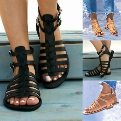 £13.99 • Buy Womens Sandals Ladies Strappy Gladiator Flat Summer Holiday Beach Shoes Size 4-7