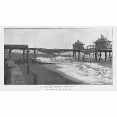 £9.95 • Buy BRIGHTON The West Pier After The Gale - Antique Print 1896