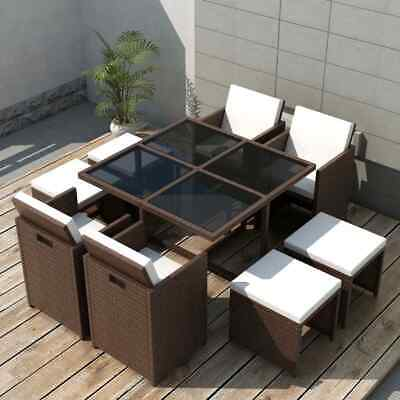 £585.99 • Buy 9 Piece Outdoor Dining Set Cushions Poly Rattan Brown Compact Garden Furniture