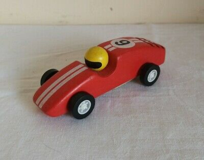 £4.99 • Buy Pintoy John Crane Red Wooden Friction Motion Racing Car Number 6