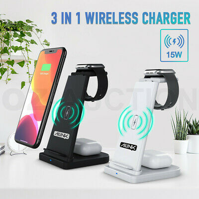 AU33.95 • Buy Qi Wireless Charger Station Charging Dock Stand Apple Phone Watch Airpod 3 In 1