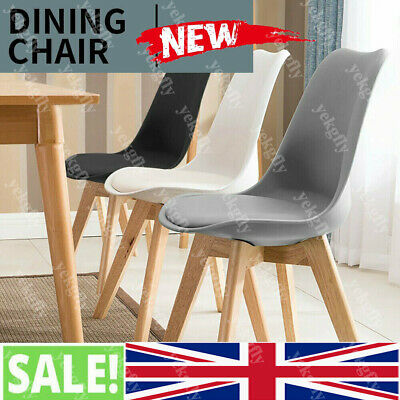 £28.90 • Buy Modern Dining Chairs Eiffel Inspired Solid Wood Legs PU Padded Office Home Seat