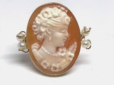$199.99 • Buy New M+M Scognamiglio 14k Italy 25mm Cameo & Seed Pearl Ring RARE Size 8