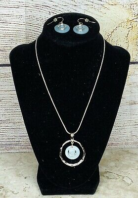 $ CDN25.16 • Buy Lia Sophia Out To Sea Mother Of Pearl Blue/Silver Circle Necklace & Earrings Set