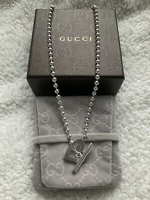 £220 • Buy Gorgeous Rare Gucci Heart Toggle Boule Popcorn Necklace Sterling Silver Boxed