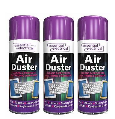 £6.75 • Buy 3 X AIR DUSTER SPRAY AEROSOL CANS COMPRESSED CLEAN PROTECTS KEYBOARDS 200ML
