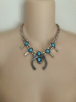 $ CDN425.09 • Buy American West Squash Blossom Statement Necklace In Sterling Silver