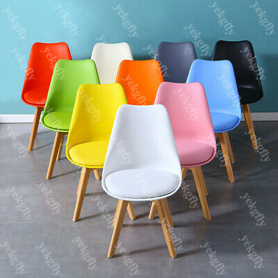 £28.90 • Buy Modern Dining Retro Chairs Eiffel Inspired Solid Wood Legs PU Padded Home Seat
