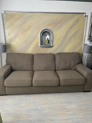 £150 • Buy 3 Seater Sofa, Italien Brown Fabric Natuzzi Second Hand Couch