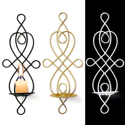 £5.99 • Buy Iron Wall Hanging Candle Sconces Holder Swirling Vintage Home Decorative Stand
