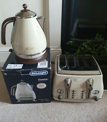 £59.99 • Buy Delonghi Cream Brown Icona Kettle And Toaster Vintage
