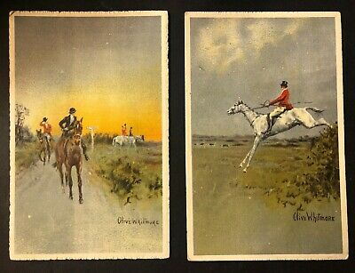 £3.50 • Buy Two Antique Postcards Signed OLIVE WHITMORE Hunting Scene Scholastic Belfast