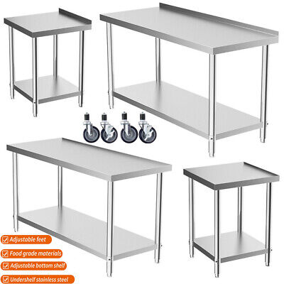 £161.99 • Buy Stainless Steel Commercial Catering Table Work Bench Kitchen Worktop Food Prep