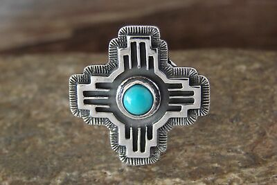 £35.82 • Buy Navajo Indian Jewelry Sterling Silver Zia Turquoise Ring Size 6 - Shorty