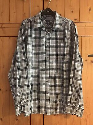 £10 • Buy Bhs Mens Atlantic Bay Grey Navy And White Checked Shirt Size Large