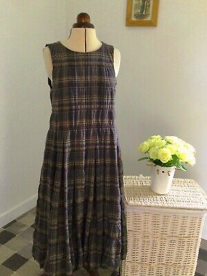 £75 • Buy Cabbages And Roses Bubble Hem Brown Check Pinafore Dress Size M