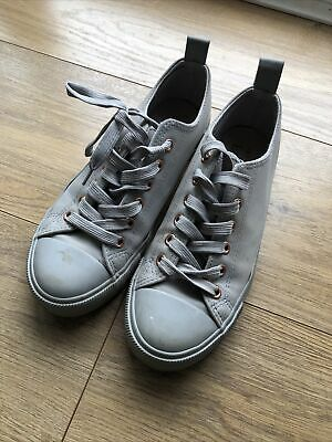 £0.99 • Buy Girls Ladies Grey Primark Pumps Lace Up Shoes Size 5