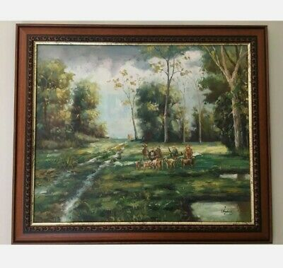 £44 • Buy Substantial - Original Old Oil Painting- Hunting Scene, Signed By The Artist.
