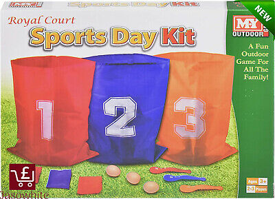£8.37 • Buy The Magic Toy Shop 3 In 1 Sports Day Kit Sack Race Egg And Spoon Race Set Bean