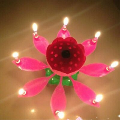 $ CDN21.35 • Buy Lotus Flower Rotating Candle Birthday Party Musical Candles Decoration Lights