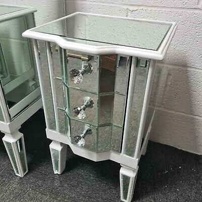 £124.95 • Buy White Wood Venetian Mirrored Glass 3 Drawer Bedside Cabinet Side End Table