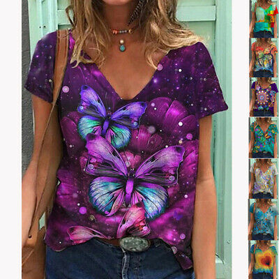 £8.99 • Buy Women's Boho Short Sleeve T Shirt Blouse Ladies Casual Floral Tee Tops Plus Size