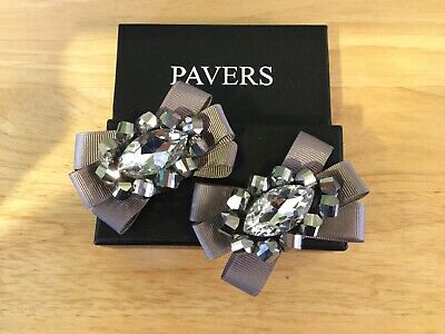 £5.80 • Buy PAVERS Decorative Shoe Clips Silver & Grey Large Central Stone BNIB