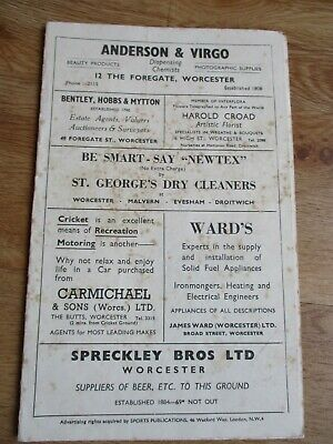 £4.99 • Buy Worcestershire County Cricket Club Score Card From 1953