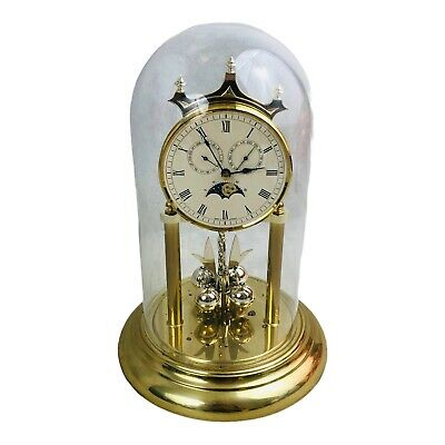 £35.39 • Buy Vintage Anniversary Clock Day Date Moon Phase Quartz Glass Dome West Germany