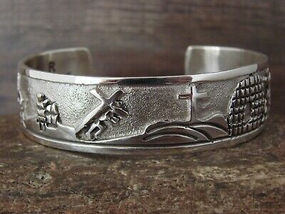 £357.61 • Buy Navajo Jewelry Sterling Silver Storyteller Crucifixion Cuff By R. John