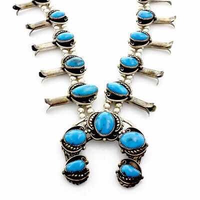 $ CDN947.35 • Buy Navajo Sterling Silver & Turquoise Squash Blossom Necklace