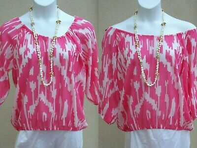 £11.99 • Buy J Crew Peasant ON OFF SHOULDER Top Blouse Size M SUMMER Cotton Pink White Shirt