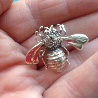 £8.01 • Buy 925 Sterling Silver And Marcasite Bumble Bee Brooch